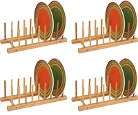 Plate Holder For 8 Plates Made From Natural Bamboo Set of 4 by Trademark Innovations