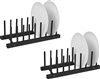 Plate Holder Black Finish For 8 Plates Made From Natural Bamboo Set of 2 by Trademark Innovations