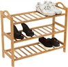 Shoe Rack 3 Shelves 100% Natural Bamboo by Trademark Innovations
