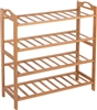 Shoe Rack 100% Natural Bamboo by Trademark Innovations (4 Shelves, Natural)