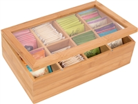 Bamboo 8-Section Tea Storage Box with Clear Lid by Trademark Innovations