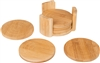All Natural Round Bamboo Coaster Set of 6 in Holder by Trademark Innovations