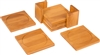All Natural Square Bamboo Coaster Set of 6 in Holder by Trademark Innovations