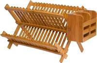 Folding Dish Rack with Utensil Holder Made From Natural Bamboo by Trademark Innovations