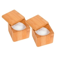 Bamboo Salt Pepper Box Set of 2