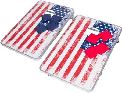 Trademark Innovations Portable Bean Bag Corn Hole Toss Set (American Flag, With Case)