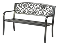 Black Coated Steel Garden Bench By Trademark Innovations