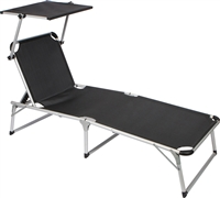 Adjustable Beach Patio Lounge Chair with Sun Shade by Trademark Innovations (Black)