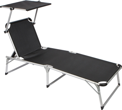 Adjustable Beach And Patio Lounge Chair With Sun Shade By
