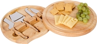 Bamboo Cheese Board Tools Set with Swivel Base By Trademark Innovations