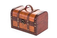Small Wood Leather Decorative Chest By Trademark Innovations