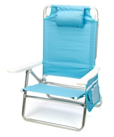 5-Position Aluminum Frame Beach Chair with Pillow by Trademark Innovations (Light Blue)