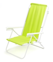 7-Position High Back Steel Tube Beach Chair by Trademark Innovations (Light Green)