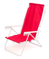 7-Position High Back Steel Tube Beach Chair by Trademark Innovations (Red)