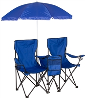 Double Folding Camp Beach Chair with Removable Umbrella Cooler by Trademark Innovations (Blue)