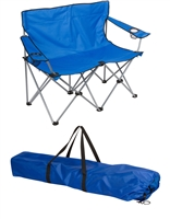 "Loveseat Style Double Camp Chair with Steel Frame by Trademark Innovations (Blue, 31.5""H)"