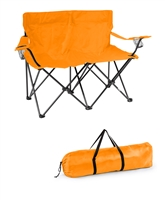 "Loveseat Style Double Camp Chair with Steel Frame by Trademark Innovations (Orange, 31.5""H)"