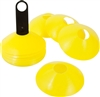 "2"" Plastic Disc Cone 24 Pack Yellow with Cone Carrier- Sports Training Gear"