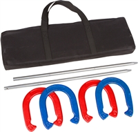 Trademark Innovations Pro Horseshoe Set Red Blue Powder Coated Steel