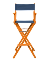 Director's Chair Bar Height Wood Fabric Color Choices By Trademark Innovations (Honey Wood with Blue)