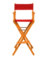 Director's Chair Bar Height Wood Fabric Color Choices By Trademark Innovations (Honey Wood with Red)