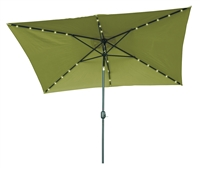 10' x 6.5' Rectangular Solar Powered LED Lighted Patio Umbrella by Trademark Innovations (Light Green)