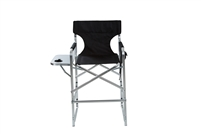 Aluminum Frame Tall Metal Director's Chair With Side Table by Trademark Innovations (Black)