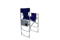 Aluminum Frame Tall Metal Director's Chair With Side Table by Trademark Innovations (Blue)