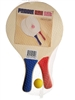 Paddle Ball Beach Ball Game Wooden Set of 2 Paddles (Blue Red) Ball