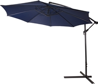 10' Deluxe Polyester Offset Patio Umbrella by Trademark Innovations (Blue)