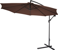 10' Deluxe Polyester Offset Patio Umbrella by Trademark Innovations (Dark Brown)