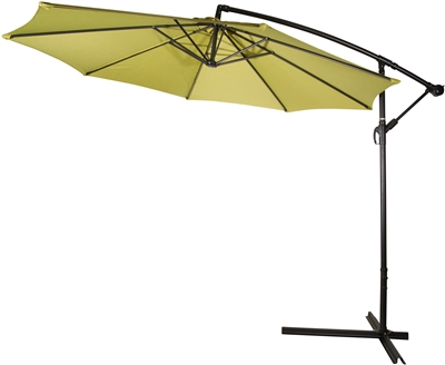 10' Deluxe Polyester Light Green Offset Patio Umbrella by Trademark Innovations