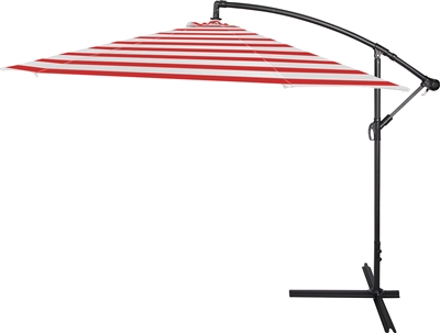 10' Deluxe Polyester Offset Patio Umbrella by Trademark Innovations (Red Stripe)