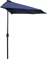 9' Patio Half Umbrella by Trademark Innovations (Blue)