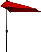 9' Patio Half Umbrella by Trademark Innovations (Red)