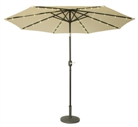 9' Deluxe Solar Powered LED Lighted Patio Umbrella by Trademark Innovations (Beige)