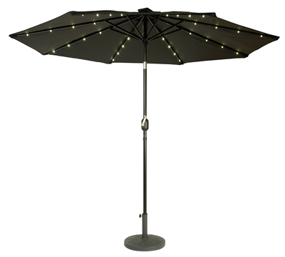 9' Deluxe Solar Powered LED Lighted Patio Umbrella by Trademark Innovations (Black)