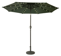 9' Deluxe Solar Powered LED Lighted Patio Umbrella by Trademark Innovations (Green)