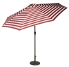 9' Deluxe Solar Powered LED Lighted Patio Umbrella by Trademark Innovations (Red Striped)