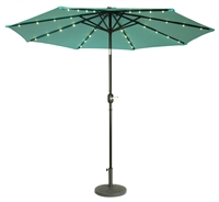 9' Deluxe Solar Powered LED Lighted Patio Umbrella by Trademark Innovations (Teal)