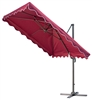 8.2 Foot Deluxe Square Polyester Red Offset Patio Umbrella by Trademark Innovations