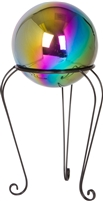 "Stainless Steel Gazing Mirror Ball with 12"" Tall Black Iron Decorative St- By Trademark Innovations (Rainbow, 8"")"