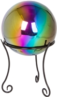 "Stainless Steel Gazing Mirror Ball with 8"" Tall Black Iron Decorative St- By Trademark Innovations (Rainbow, 8"")"