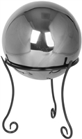 "Stainless Steel Gazing Mirror Ball with 8"" Tall Black Iron Decorative St- By Trademark Innovations (Silver, 8"")"