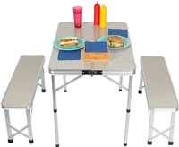 Portable Aluminum Folding Picnic Table with 2 Folding Bench Seats