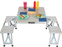 Portable Aluminum Folding Picnic Table with 4 Seats by Trademark Innovations