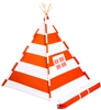 Canvas Teepee 6' With Carrycase -Playful Orange Stripes by Trademark Innovations