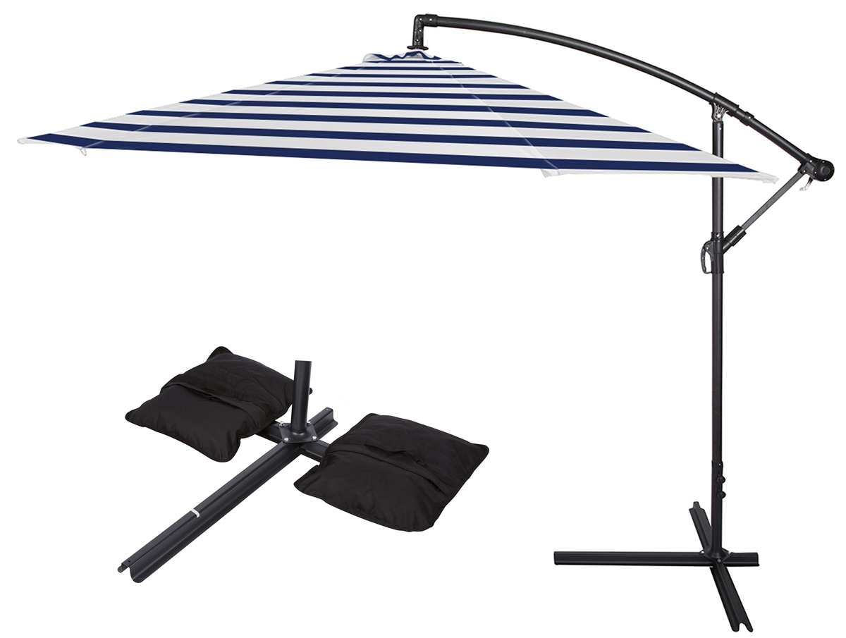 10u0027 Deluxe Polyester Offset Patio Umbrella With Set Of 2 Saddlebag Style  Sand Weight Bags By Trademark Innovations (Blue Striped)