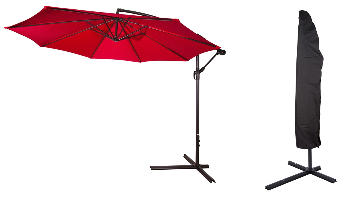 Premium Colorguard 10u0027 Offset Cantilever Patio Umbrella With Umbrella Cover  By Trademark Innovations (Red)