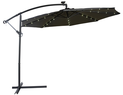 10' Deluxe Polyester Offset Patio Umbrella with LED lights by Trademark Innovations (Black)